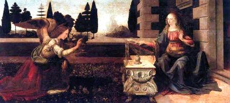 La Anunciación por Leonardo da Vinci